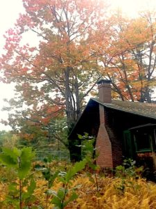 Lodge chimney in the fall